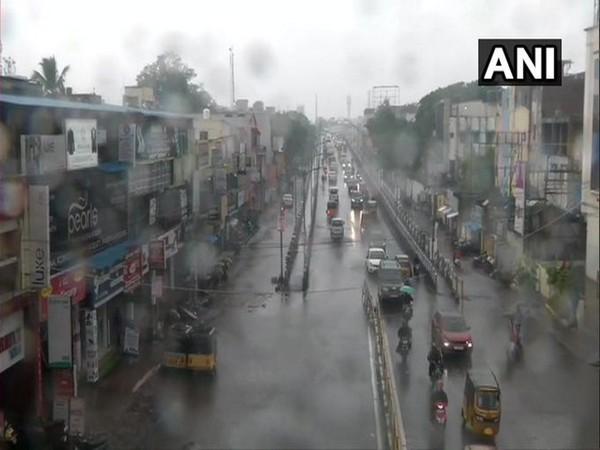 Rain lashed in parts of Chennai on Tuesday (Photo/ANI)