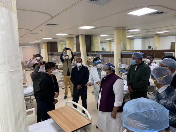 Rajasthan Health Minister Dr Raghu Sharma visits wards of COVID dedicated hospital where he's admitted (Photo/Twitter)