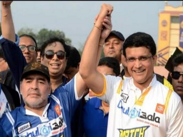 Sourav Ganguly with Maradona (Photo/ Sourav Ganguly Twitter)