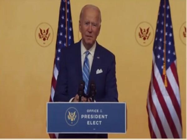 US President-elect Joe Biden speaks in Delaware On Wednesday. (Photo/ANI)