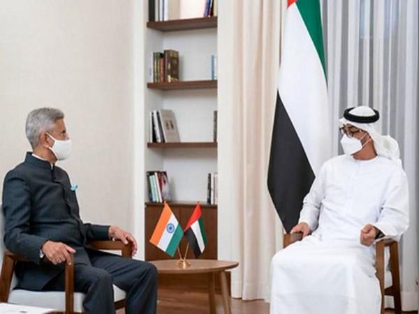 S Jaishankar and Crown Prince of Abu Dhabi Sheikh Mohammed bin Zayed Al Nahyan (Photo/ Twitter)