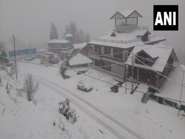 A thick blanket of snow covering roof tops in Narkanda. (Photo/ANI)