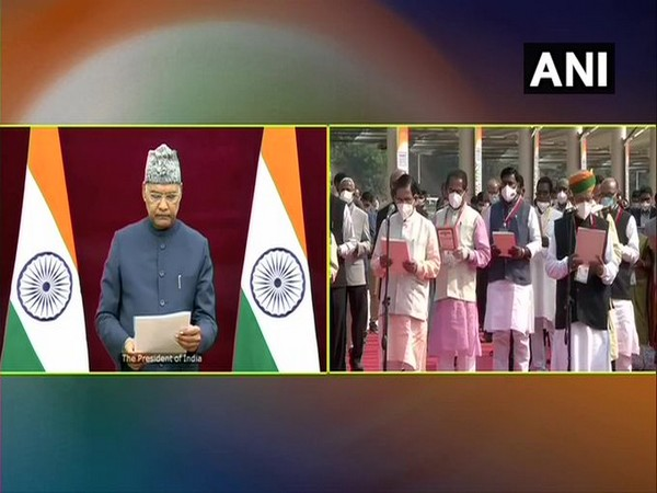 President Ram Nath Kovind led the nation in reading the Preamble to the Constitution (Photo/ANI)