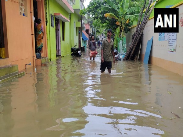 Water logging in Puducherry's Kamaraj Nagar today, following landfall made by Cyclone Nivar