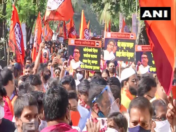 Maharashtra Navnirman Sena (MNS) workers protesting outside Collector's office in Bandra today