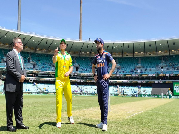 Australia captain Aaron Finch with India skipper Virat Kohli during the toss. (Photo/ BCCI Twitter)