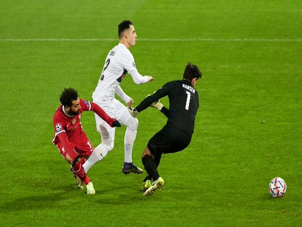 Liverpool striker Mohamed Salah in action against Midtjylland on Wednesday. (Source: Champions League Twitter)