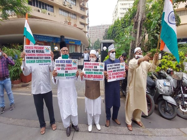 They were protesting against China outside the consulate by holding Indian flags and placards
