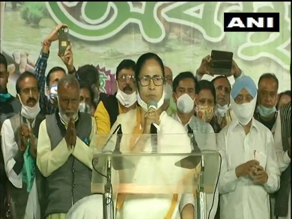 West Bengal Chief Minister Mamata Banerjee addressing a public rally in Kolkata. Photo/ANI