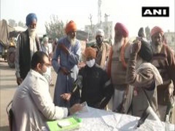 A medical camp has been set up at Delhi's Singhu border. (Photo/ANI)