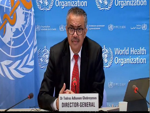 World Health Organisation Director-General Tedros Adhanom Ghebreyesus speaking at the press briefing on Monday.