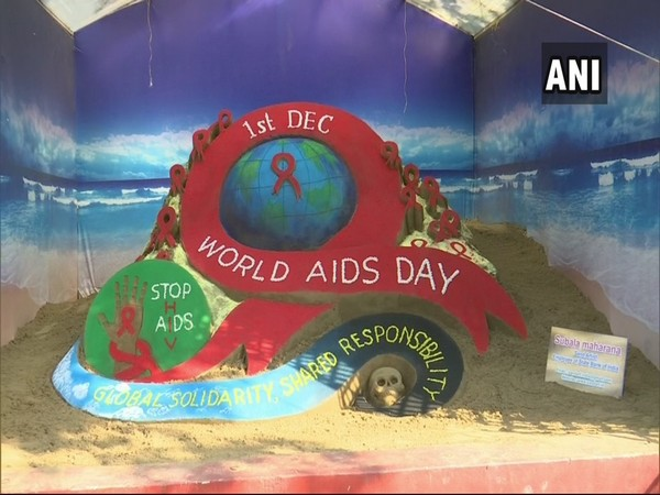 The sand sculpture created by Subal Moharana to spread awareness about World AIDS day. (Photo/ANI)