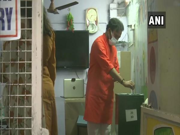 Union Minister of State G Kishan Reddy casts his vote at Deeksha Model School in Kachiguda on Tuesday. (Photo/ANI)