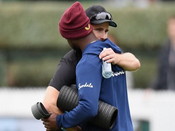 Kane Williamson and Kemar Roach before start of play (Photo/ Windies Cricket Twitter)