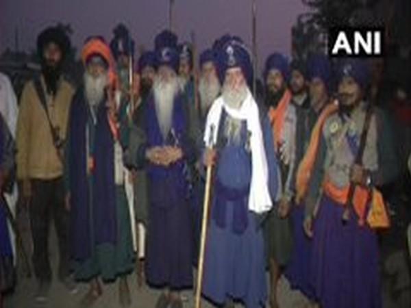 Nihang Sikhs on Thursday reached the Singhu border (Photo/ANI)