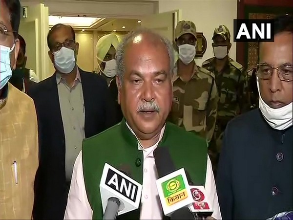 Agriculture Minister Narendra Singh Tomar speaking to the media after meeting with farmer unions on Thursday (Photo/ANI)