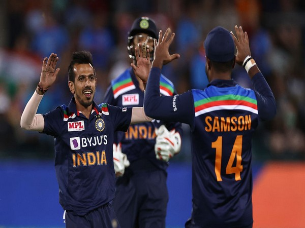 Yuzvendra Chahal celebrates after dismissing an Australia batsman (Photo: ICC twitter)
