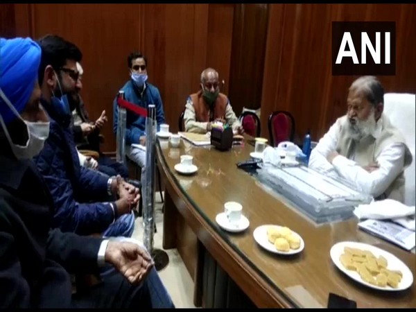 The JJP delegation, including party leader Digvijay Chautala meet with Haryana Home Minister Anil Vij. (Photo/ANI)