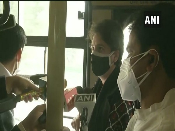 Congress leader Priyanka Gandhi speaking to the reporters (Photo/ANI)