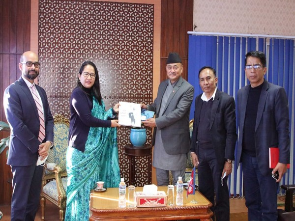 Namgya Khampa, Deputy Chief of Mission, on Tuesday called on Basant Nembang, Nepal's Minister for Physical Infrastructure and Transport. (Photo credit: Twitter/India in Nepal)