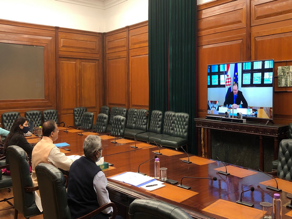 Virtual meeting between Minister of State for External Affairs V Muraleedharan and Croatian State Secretary for Political Affairs Frano Matusic (Source: Twitter)