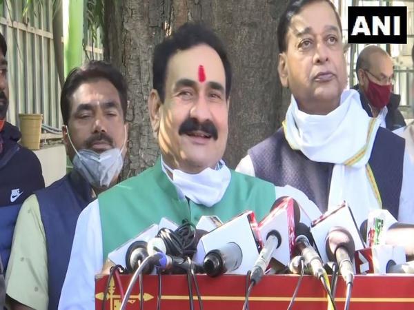 Madhya Pradesh Home Minister Narottam Mishra speaking to reporters on Wednesday. (Photo/ANI)