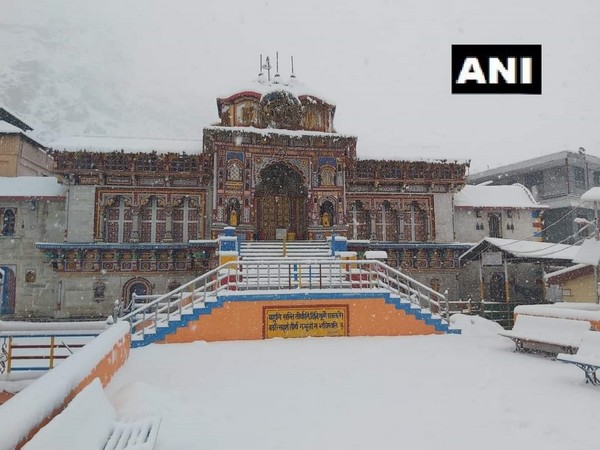 Badrinath Temple covered in snow on Saturday. (Photo/ANI)