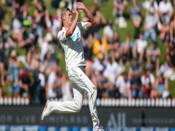 Kiwi pacer Kyle Jamieson in action against Windies (Photo/ ICC Twitter)