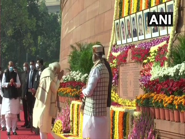 Prime Minister Narendra Modi on Sunday paid tributes to victims of 2001 Parliament attack. (Photo/ANI)