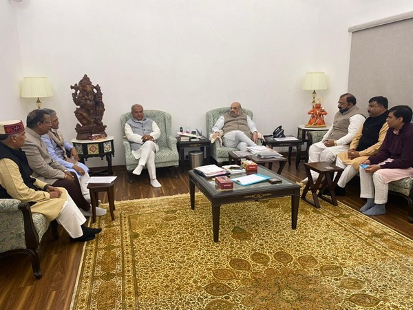 Visulas from the meeting at Union Minister Amit Shah's residence (Photo/ANI)