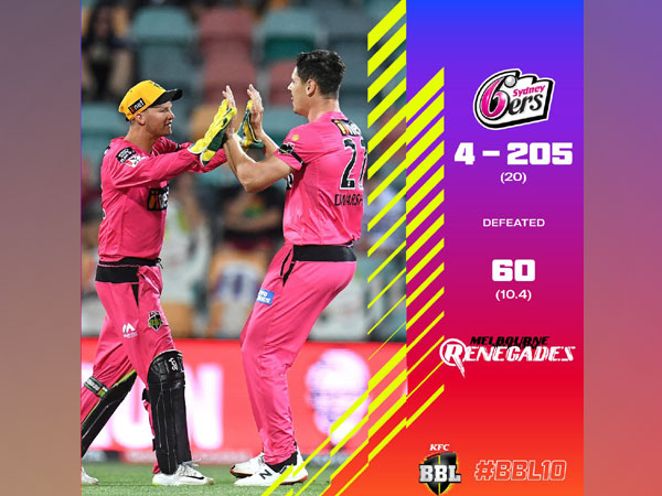 """Sydney Sixers thrash Melbourne Renegades to claim """"biggest victory"""" in BBL history (Photo/ BBL Twitter)"""