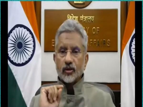 External Affairs Minister S Jaishankar speaking at the Global Technology Summit on Monday. Photo/ANI