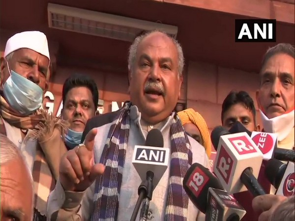 Union Agriculture Minister Narendra Singh Tomar speaking to the media after meeting with farmers from Baghpat. (Photo/ANI)