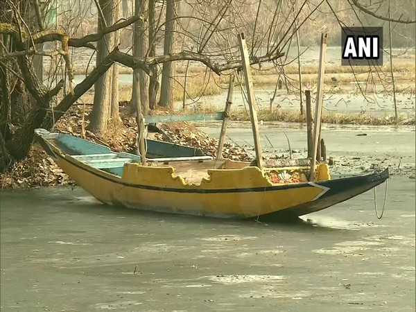 Dal Lake freezes as mercury dips in Srinagar (Photo/ANI)