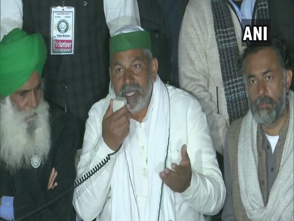 Rakesh Tikait, leader of the Bharatiya Kisan Union addressing a press conference at the Singhu border