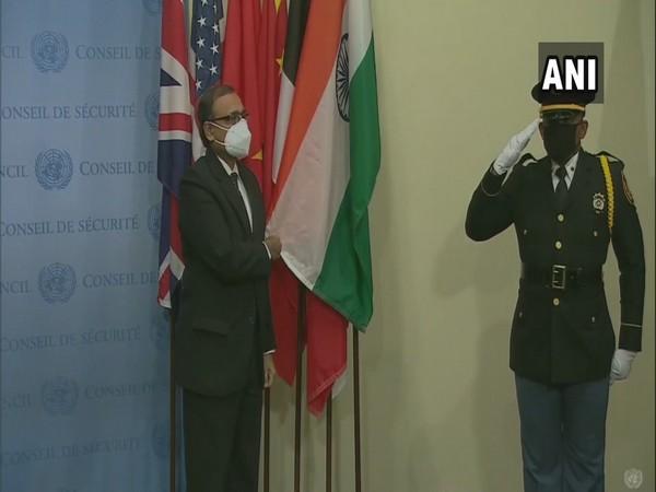 TS Tirumurti, Permanent Representative of India to UN at Flag Ceremony at UNSC