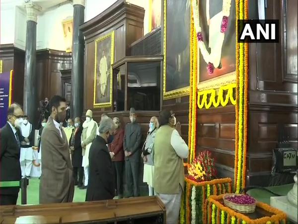 Prime Minister Narendra Modi paying tributes at Parliament. (Photo/ANI)