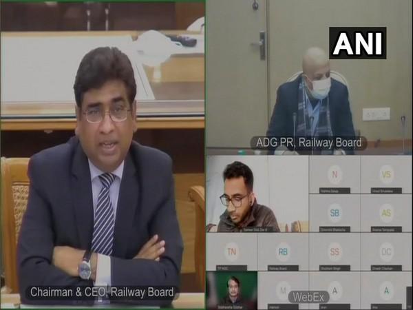 Visuals from the Vinod Kumar Yadav, Chairman, Railway Board's video conference (Photo/ANI)