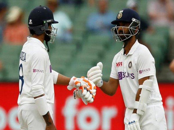 Ajinkya Rahane and Ravindra Jadeja in action against Australia. (Photo/ ICC Twitter)