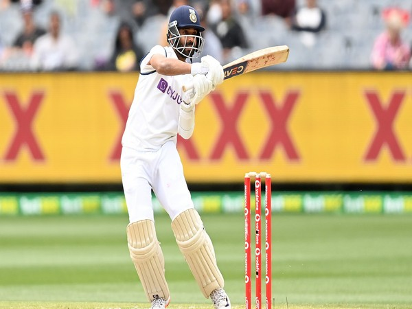 Ajinkya Rahane plays a shot during his knock of 112 at the MCG (Image: ICC Twitter)