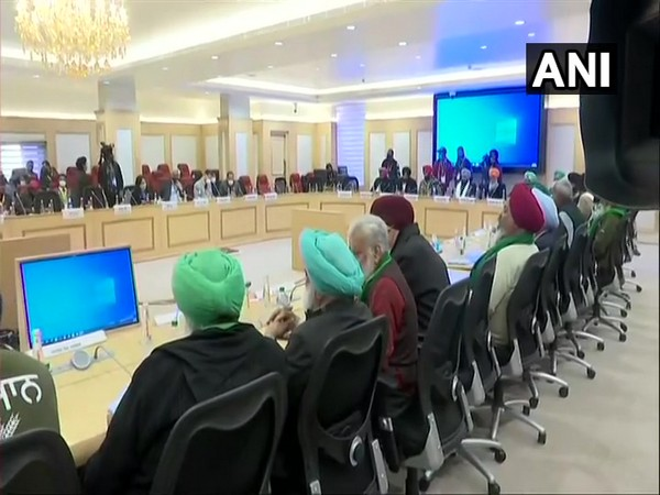 Farmers at Vigyan Bhawan at a meeting with Central Ministers. (Photo/ANI)