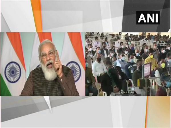 Prime Minister Narendra Modi laid the foundation stone of AIIMS Gujarat. (Photo/ANI)