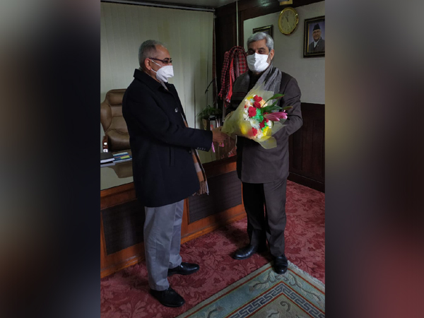 Indian Ambassador to Nepal Vinay Mohan Kwatra met newly appointed Health Minister Hridayesh Tripathi on Thursday. (Photo credit: Twitter/India in Nepal)