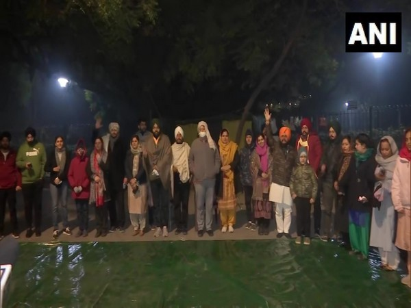 Protesting MPs with their families at Jantar Mantar in New Delhi. (Photo/ANI)