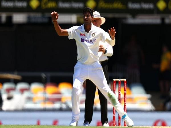 Indian spinner Washington Sundar in action against Australia (Photo/ ICC Twitter)