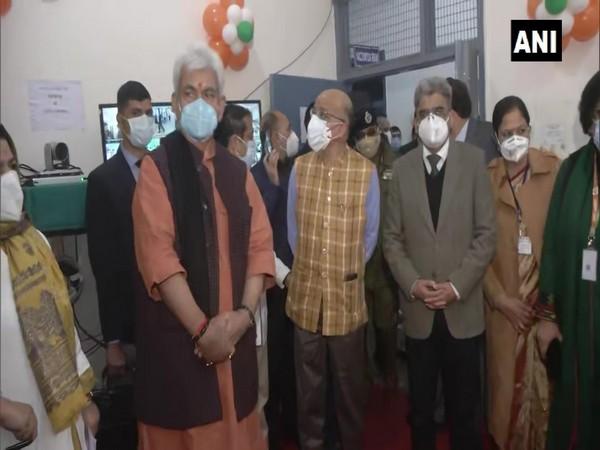 Jammu and Kashmir Lieutenant Governor Manoj Sinha at the Jammu Medical College and Hospital. (Photo/ANI)