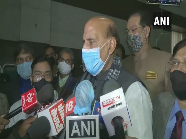 Defence Minister Rajnath Singh speaking to the reporters in Lucknow (Photo/ANI)