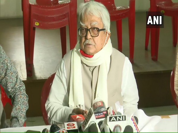 Left Front Chairperson Biman Bose speaking to reporters in Kolkata on Sunday.