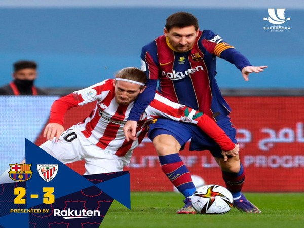 Lionel Messi in action during the match against Athletic Club. (Photo/ Barcelona Twitter)