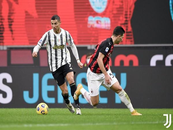 Cristiano Ronaldo in action against AC Milan (Photo/ Juventus Twitter)